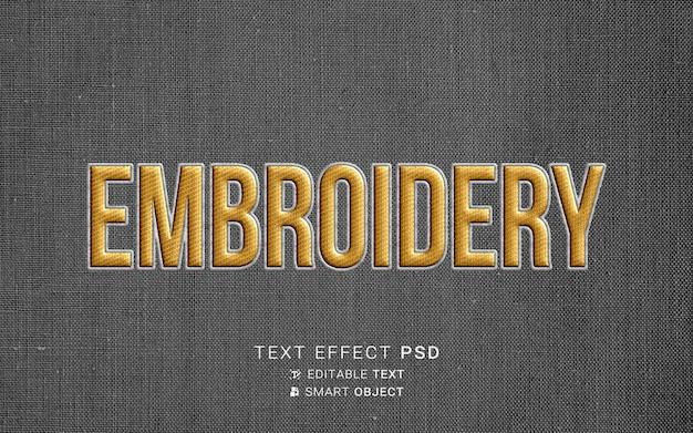 Efecto de texto de bordado creativo