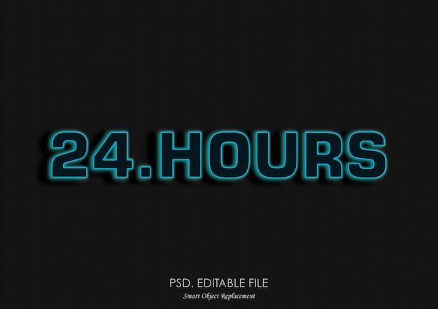 Efecto de texto brillante de 24 horas