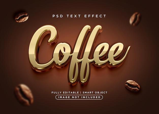 Efecto de texto de café de estilo 3d