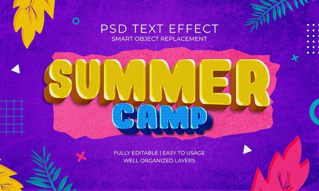 Efecto de texto de campamento de verano tropical