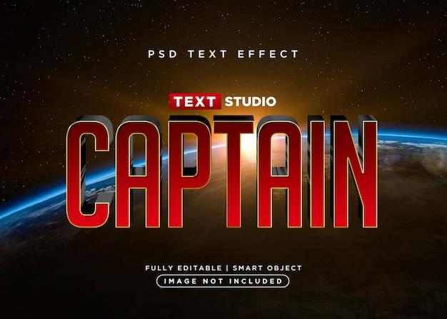 Efecto de texto de capitán de estilo 3d