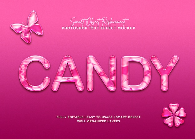 Efecto de texto de caramelo de estilo 3d