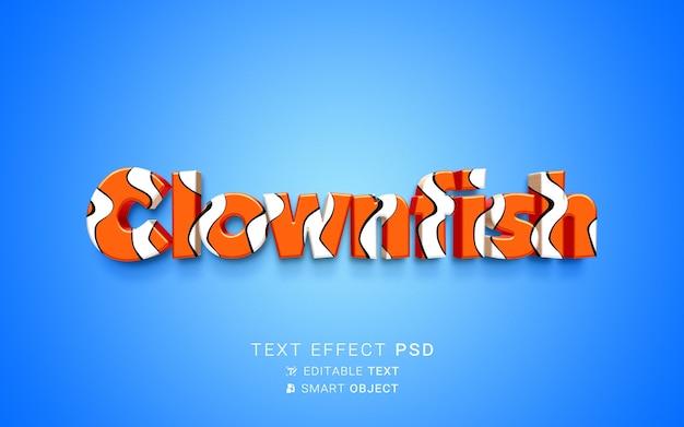 Efecto de texto creativo pez payaso.