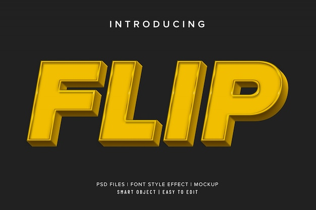 Efecto de texto cuadrado 3d flip