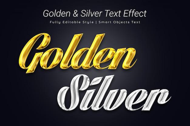 Efecto de texto dorado y plateado