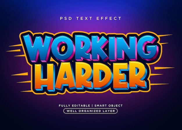 Efecto de texto duro de trabajo de estilo 3d