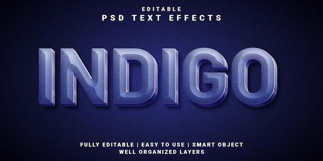 Efecto de texto editable 3d estilo índigo