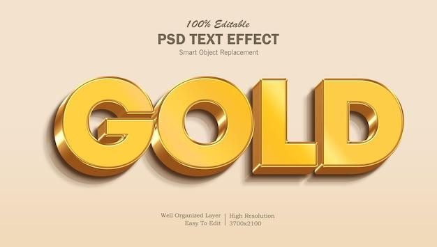 Efecto de texto editable 3d gold