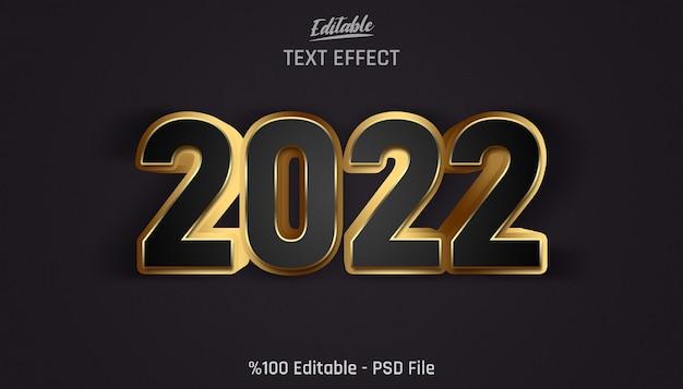 Efecto de texto editable 3d golden 2022 con fondo negro