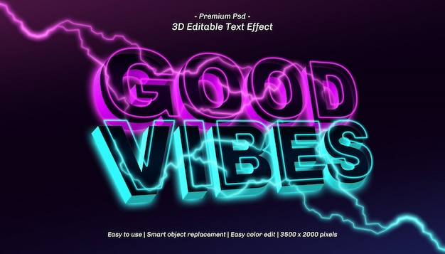 Efecto de texto editable 3d good vibes