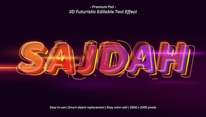 Efecto de texto editable 3d sajdah