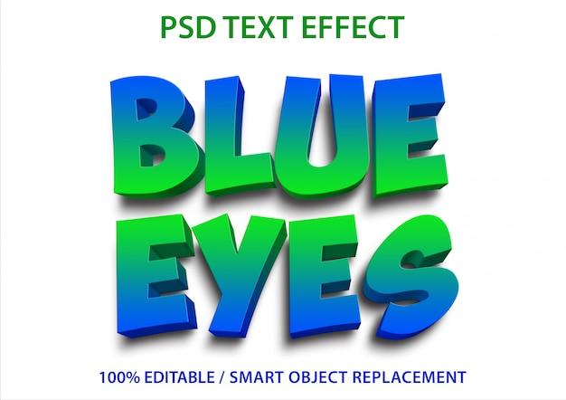 Efecto de texto editable blue eyes premium