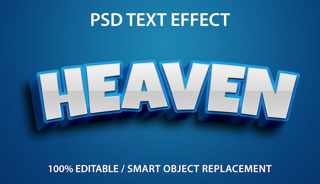 Efecto de texto editable blue heaven premium