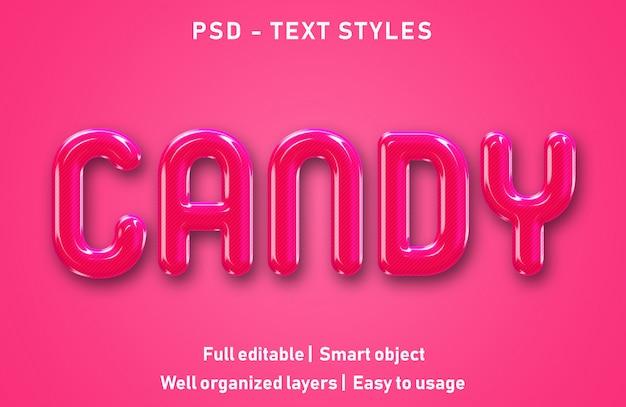 Efecto de texto editable candy