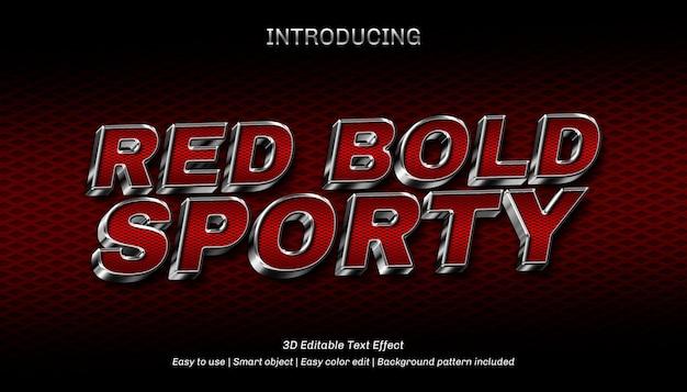 Efecto de texto editable deportivo rojo negrita 3d