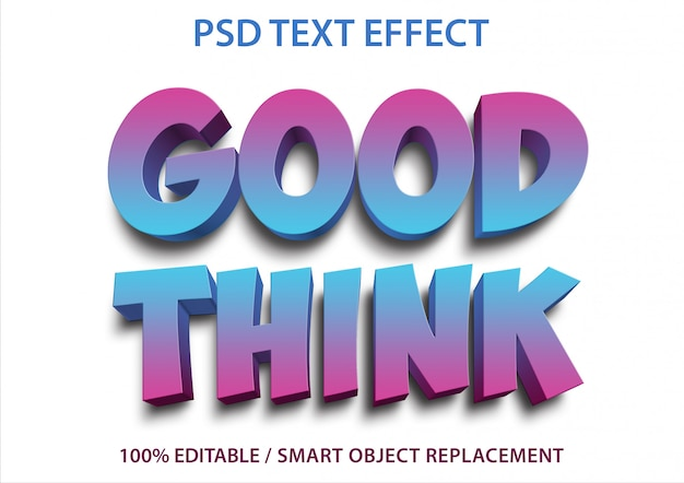 Efecto de texto editable good think premium