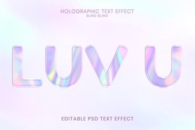 Efecto de texto editable holográfico