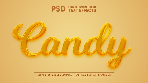 Efecto de texto editable honey candy 3d