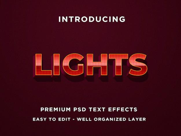 Efecto de texto editable: luces punteadas estilo metal rojo