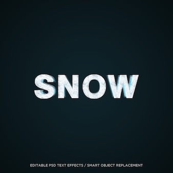 Efecto de texto editable de nieve 3d