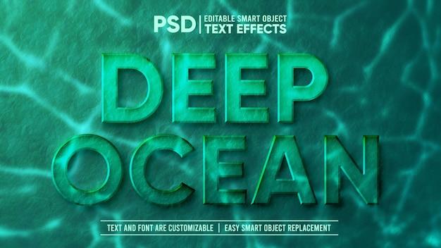 Efecto de texto editable de piedra submarina profunda 3d