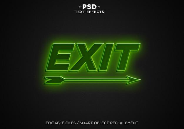 Efecto de texto editable de salida de luz verde 3d