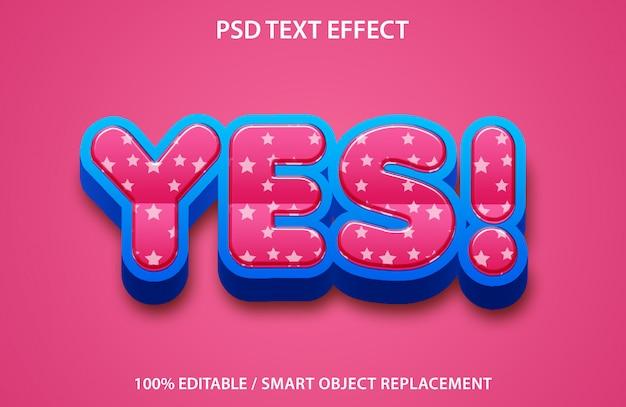 Efecto de texto editable sí premium
