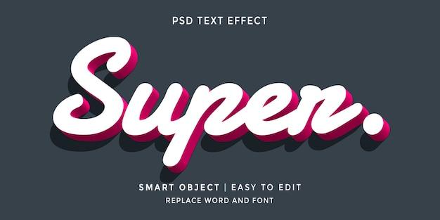 Efecto de texto de estilo 3d súper editable