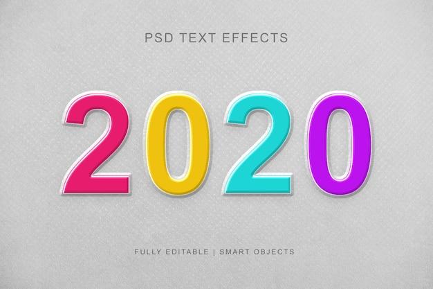 Efecto de texto de estilo de capa 3d colorido 2020