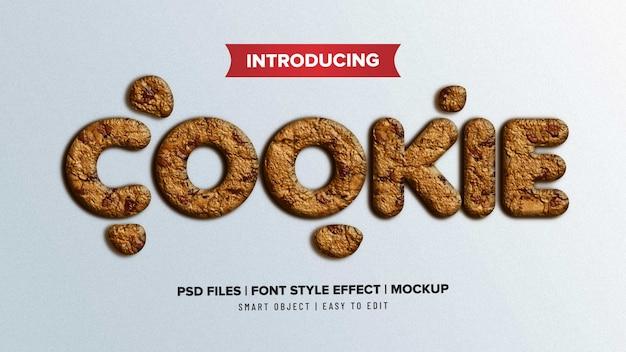 Efecto de texto de estilo de fuente de cookie 3d