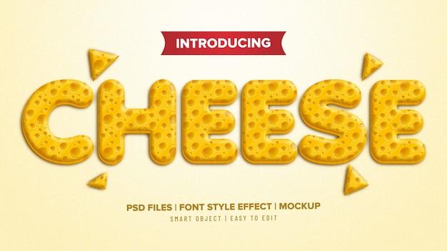 Efecto de texto de estilo de fuente de queso 3d