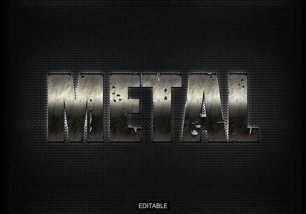 Efecto de texto con estilo de metal