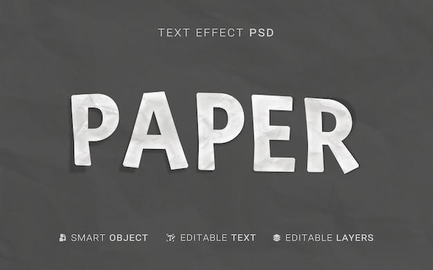 Efecto de texto de estilo de papel