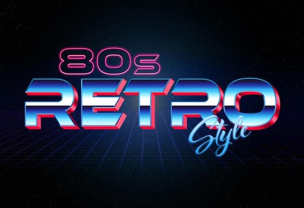 Efecto de texto de estilo retro 3d de los años 80