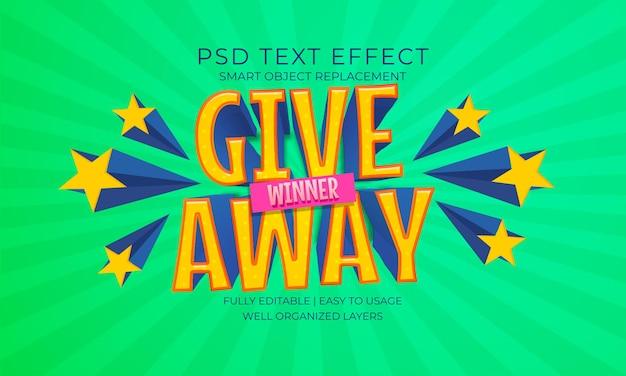 Efecto de texto estrella ganador del sorteo