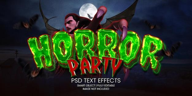 Efecto de texto de fiesta de horor