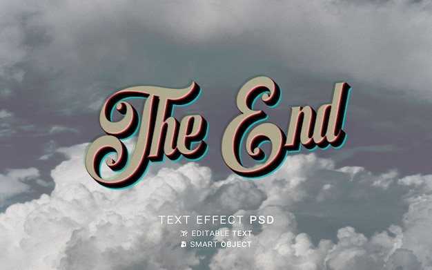 Efecto de texto el fin del diseño de la película antigua.