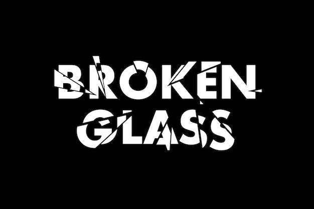 Efecto de texto y foto de vidrio roto