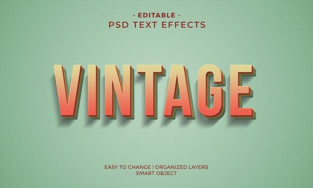 Efecto de texto fresco vintage retro