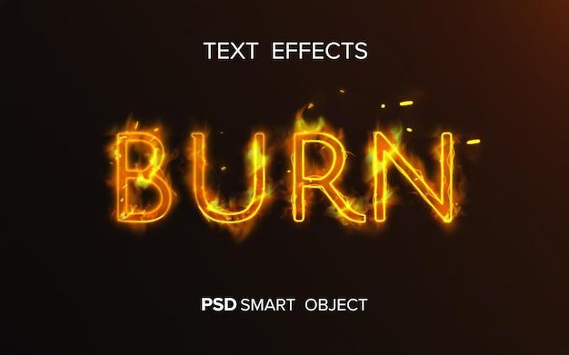 Efecto de texto de fuego creativo