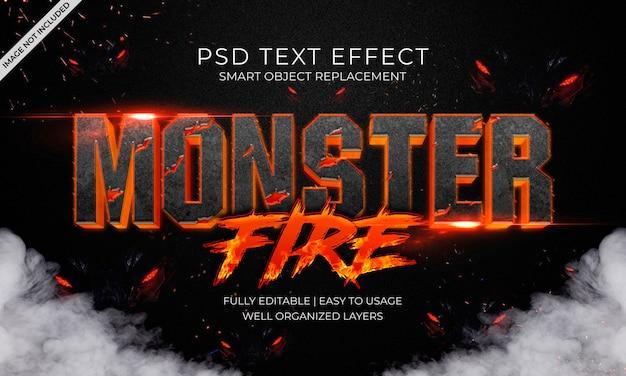 Efecto de texto de fuego de monstruo