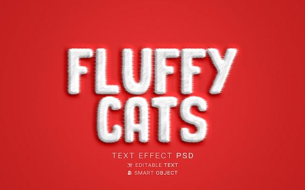 Efecto de texto de gatos esponjosos creativos