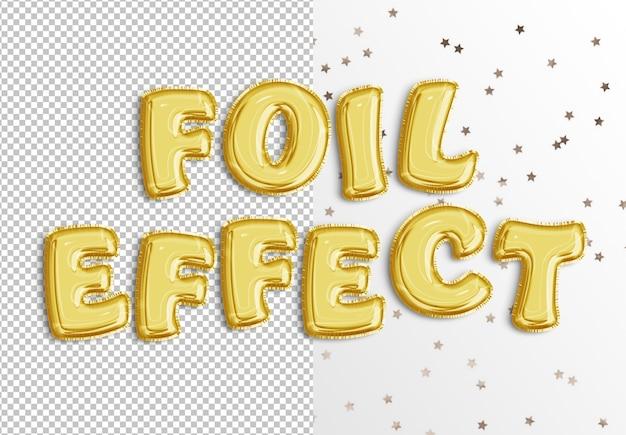 Efecto de texto de globo de aluminio
