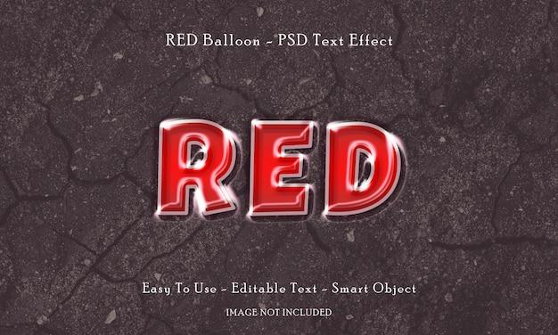 Efecto de texto de globo rojo
