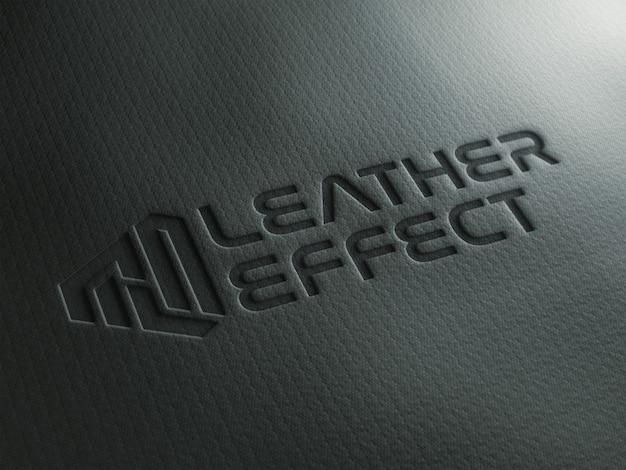 Efecto de texto grabado en cuero mockup