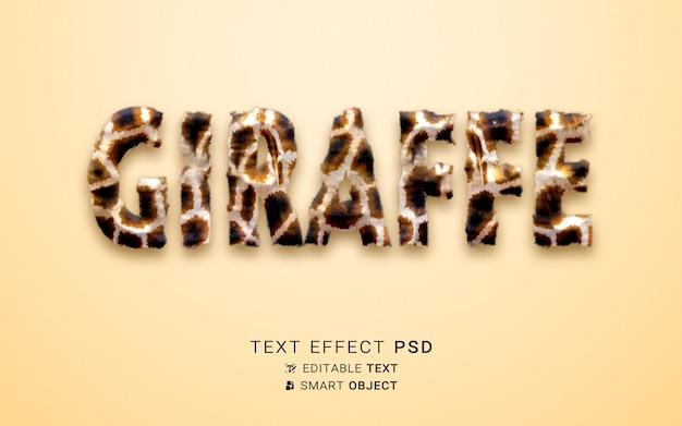 Efecto de texto hermoso jirafa