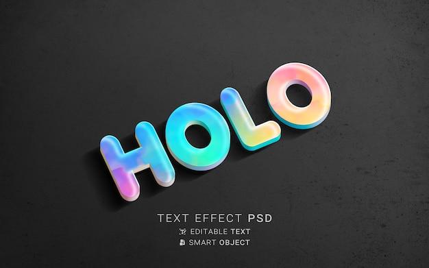 Efecto de texto de holografía creativa.
