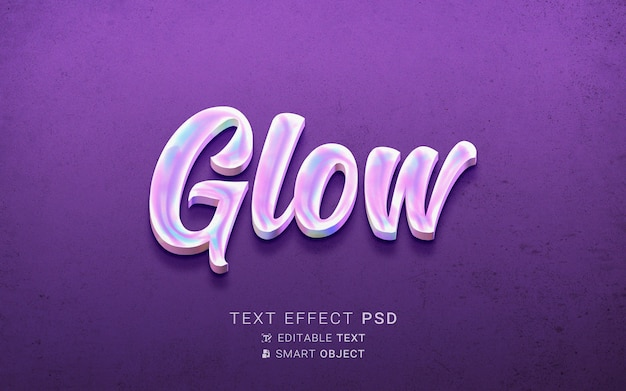 Efecto de texto de holografía creativa. PSD gratuito