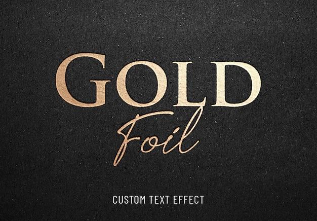 Efecto de texto de hotprint de lámina de oro