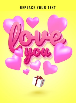 Efecto de texto de ilustraciones de regalo de san valentín